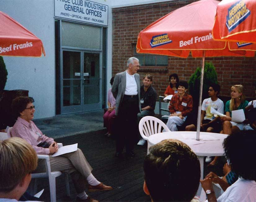 Sol Price speaking to Aaron Price Fellows at Price Club, 1992